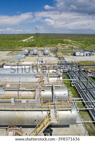 Oil refinery plant - stock photo