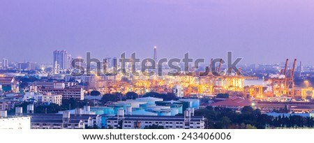 oil refinery plant and shipyard with container cargo - stock photo