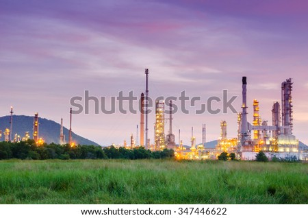 Oil refinery plant at twilight, Thailand.