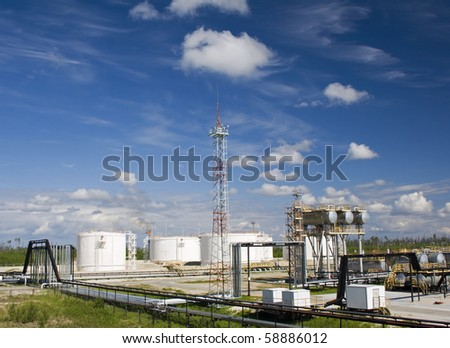 Oil refinery plant. Petrochemical industry - stock photo