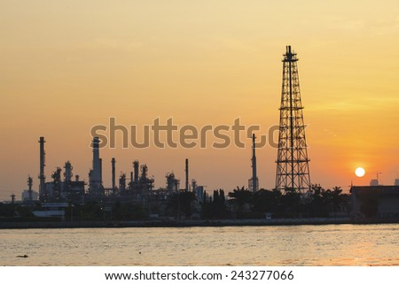 oil refinery plant with morning light use for petrochemical industry - stock photo