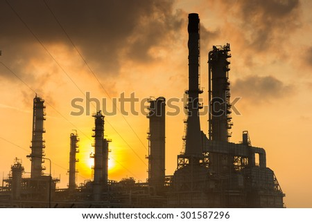Oil refinery power station at sunshine at Chonburi of Thailand