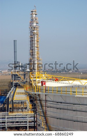Oil refinery tower in china/ refinery - stock photo
