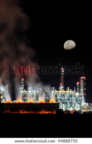 Oil Refinery Under The Moonlight, Eastern Seaboard, Thailand