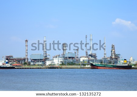 Oil refinery with blue sky on water front