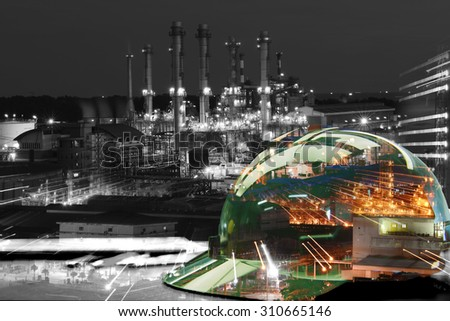 Oil refinery work Safety first  wearing a Safety helmet  - stock photo