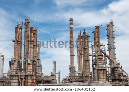 oil refining and gas production power plant - stock photo