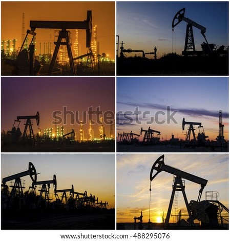 Oil rig, derrick, wellhead, refinery during sunset in the oilfield. Collage. Oil and gas concept.