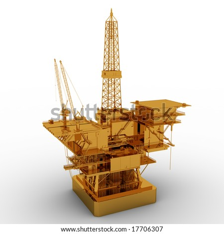 Oil Rig golden model isolated on white background - stock photo