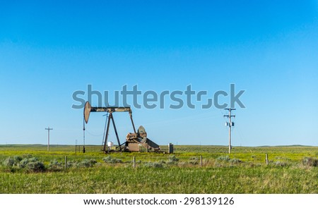 oil rig in sunny day  on summer time. - stock photo