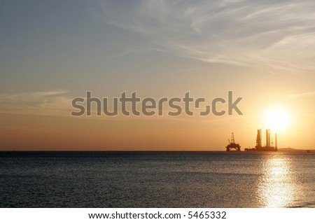 Oil rig in the Caspian Sea near Baku - stock photo