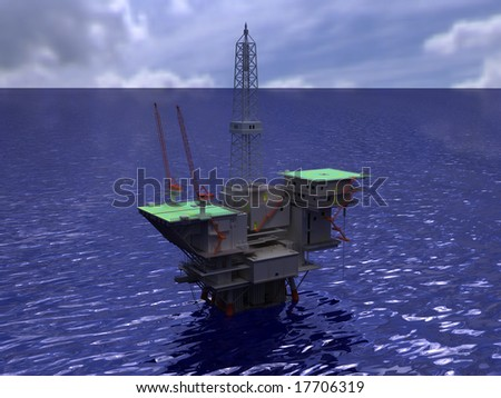 Oil rig on water rendering - stock photo