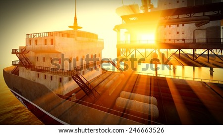 Oil rig  platform at night - stock photo