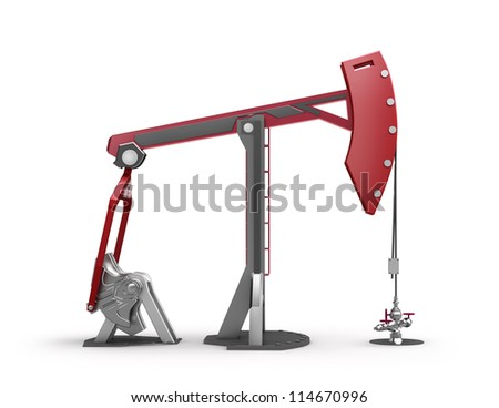 Oil Rig : Pump jack isolated on white - stock photo