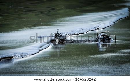 oil spill at koh samet rayong thiailand - stock photo