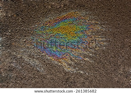 oil spill on the road  - stock photo