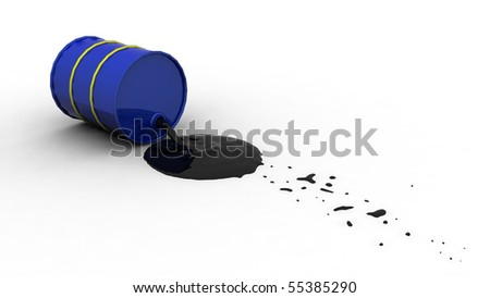 Oil spilling out of a blue drum after it's fallen over. - stock photo