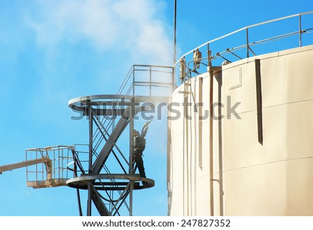 Oil Storage Blast Cleaning  - stock photo