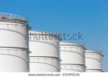 Oil storage silos - stock photo