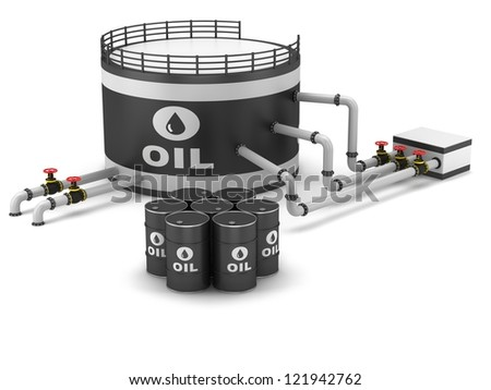 Oil storage tank and pipeline on a white background - stock photo
