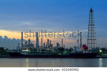 Oil Storage tanks and tanker - stock photo