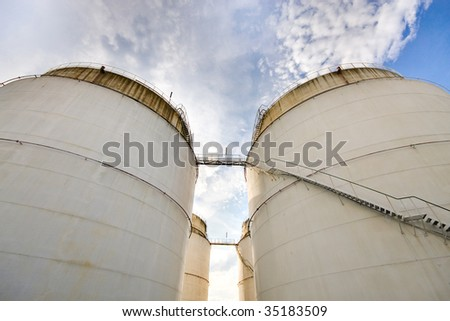 Oil storage tanks for petrol - stock photo