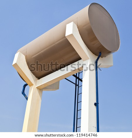 Oil storage tanks in filling station - stock photo