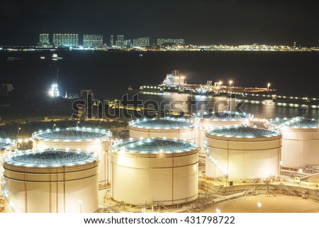 Oil tank and oil tanker - stock photo