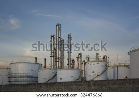 Oil tank in cargo service terminal or petrochemical industrial plant