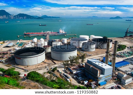oil tank in power station - stock photo