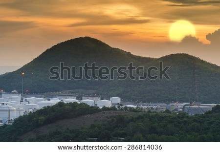 Oil tank in the Valley at evening - stock photo