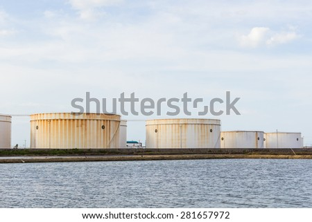 Oil tank or gas container in south of Thailand. - stock photo