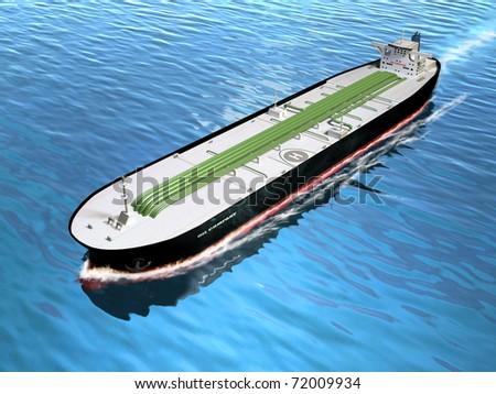 Oil tanker cruising in the ocean. Digital illustration. - stock photo