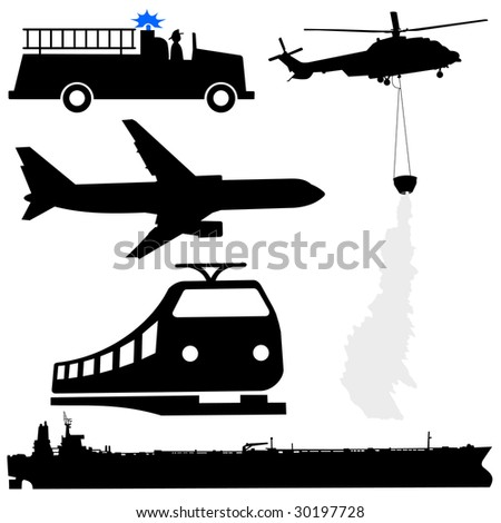 oil tanker fire engine helicopter plane and train silhouettes JPEG - stock photo