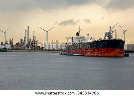 Oil tanker in port - stock photo