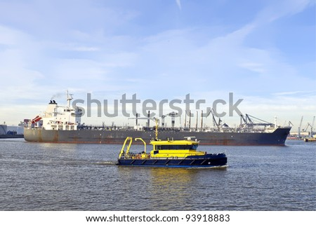 oil tanker in the port of rotterdam - stock photo