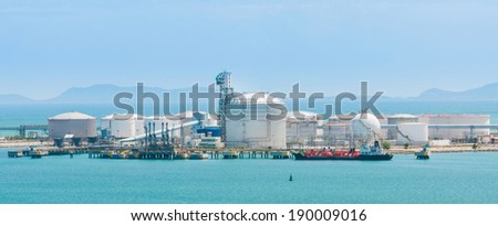 Oil tanker moored at the Port - stock photo