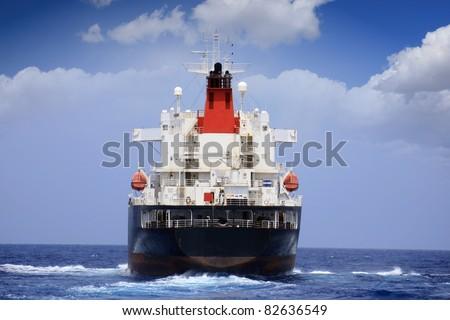 Oil tanker sailing: stern - stock photo