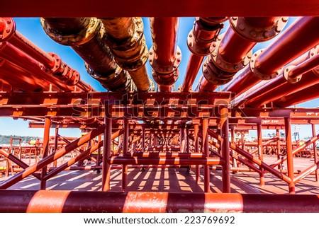 Oil tanker transportation pipeline  - stock photo