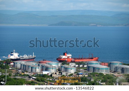 oil tankers at russian petroleum port Vladivostok - stock photo