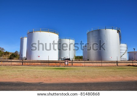 Oil Tanks and Blue Sky - stock photo