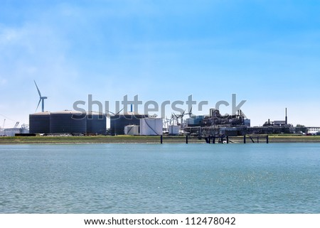 Oil terminal in the Dutch port. Netherlands - stock photo