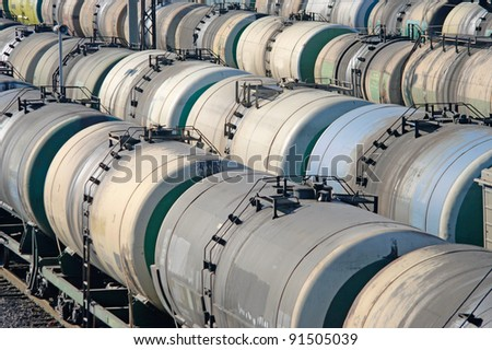 Oil transportation in the railroad tank on the station - stock photo