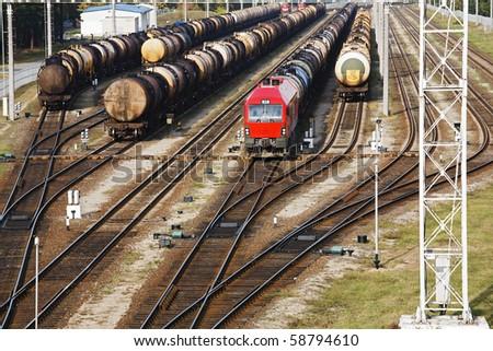 Oil transportation on railroad - stock photo