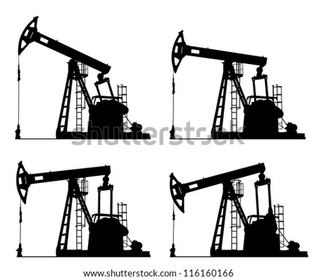 oil well pump jack silhouette isolated - stock photo