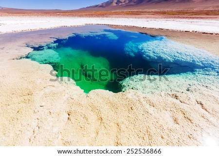 Ojo del Mar in Argentina Andes is a salt desert in the Jujuy Province. - stock photo
