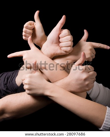 OK and  left - right direction signs with fingers. Many human thumbs up - stock photo