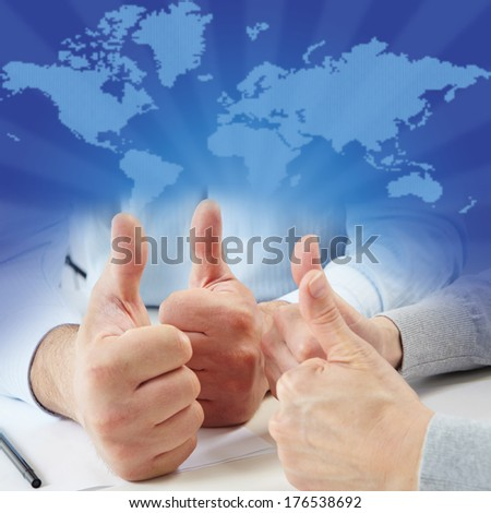 Ok. Businessmans working with documents in the office - stock photo
