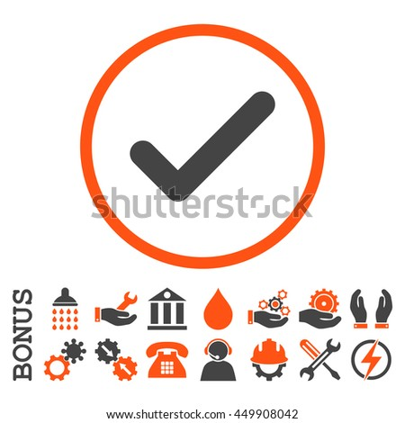 Ok glyph bicolor icon. Image style is a flat pictogram symbol inside a circle, orange and gray colors, white background. Bonus images are included. - stock photo