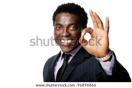ok hand sign gesture from a black african businessman - stock photo